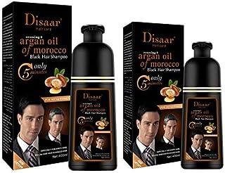 Black Hair Color Shampoo 400 ML 2 Bottles For Hair Men & Women Instant Hair color