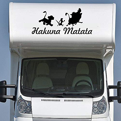 Pegatina Promotion Wohnmobil Wohnwagen Aufkleber Schriftzug Hakuna Matata Typ1 ca 120cm mit 3 lustigen Tieren Sticker Autoaufkleber