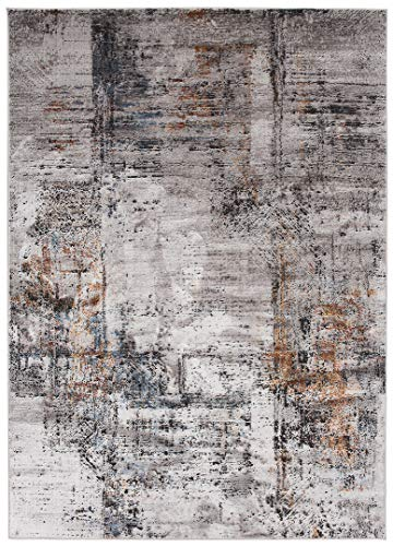 Mars AP53C - Alfombra moderna de calidad, degradada y brillante, para salón, dormitorio, salón, efecto carving, gris, marrón, pardo, 140 x 200 cm