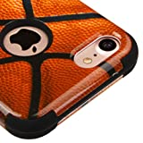 for iPhone 7/8 Case, Kaleidio [TUFF] Rugged Shockproof Hybrid 3-Piece Dual Layer Protective Armor Cover for Apple iPhone 8/7 [Includes a Overbrawn Prying Tool] [Basketball Design]