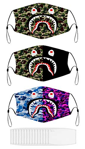 AmaUncle Bape Camo 3PCS Men Women Kids Face Mask Balaclava Mouth Cover Windproof Dustproof Adjustable Mask Elastic Strap with 15 Filters Made in USA