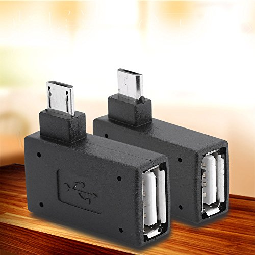 Zerone Right Left Angle Micro USB 2.0 Male 90 Degree USB Male to Micro Female OTG Adapters, Pack of 2