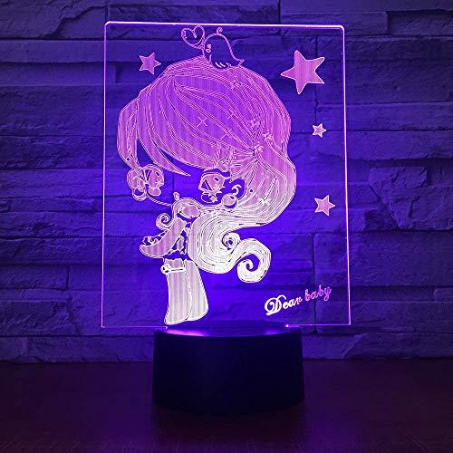 Luz de noche 3d para niña de 7 colores, utilizada para luces de decoración del hogar, lámpara de mesa óptica de visualización increíble, el mejor regalo para niños