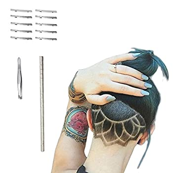 Hair Tattoo Straight Razor Face Eyebrow Hair Shaping Trimmer For Men,Women Engraved Razor Stick + 10 Blades + 1 Tweezers by BabyKim