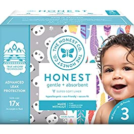 The Honest Company Club Box Diapers with TrueAbsorb Technology, Rose Blossom & Strawberries