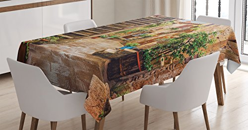 Ambesonne Tuscan Decor Tablecloth, View of an Old Mediterranean Street with Stone Rock Houses in Italian City Rural Culture Print, Dining Room Kitchen Rectangular Table Cover, 60 X 84 inches