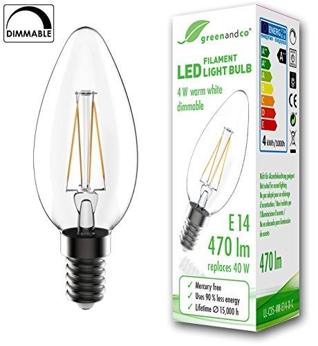 greenandco Ampoule à Filament LED dimmable E14 4W (équivalent 40W) 470lm 2700K (blanc chaud) 360° 230V Verre, aucun scintillement