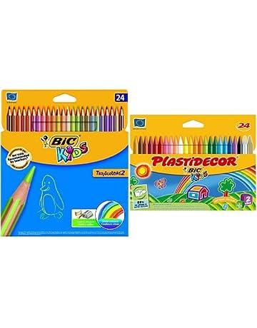 Bic - Pack 24 lápices de colores Tropicolors + 24 ceras de colores ...