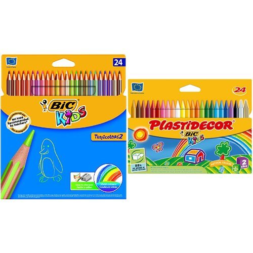 Bic - Pack 24 lápices de colores Tropicolors + 24 ceras de colores Plastidecor