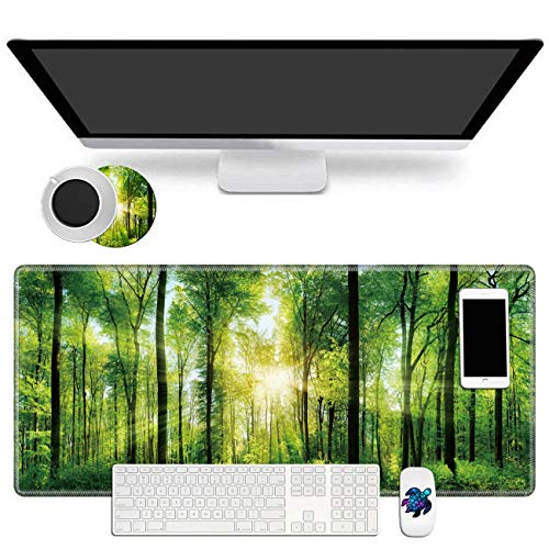 Extended Mouse Pad Large Gaming Mouse Pad- 31.5x11.8 inch Computer Keyboard Mouse Mat Non-Slip Mousepad Stitched Edges +Cup Coaster and Cute Stickers for Game Players/Office/Study, Sunshine Tree