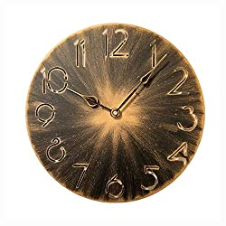 Retro Metal Industrial Wall Clock, YCDYX Gold Silent Wall Clock Non Ticking, 12 Inch Round Gradient Office Wall Clock Easy to Read Home/Office/Classroom/School Vintage Iron Wrought Wall Clock