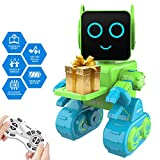Robot Toy for Kids, Smart RC Robot Kit with Touch & Sound Control Robotics, Intelligent Programmable Walking,Dancing,Singing,Talking,Transfering Items,Good Gift for Boys Girls White (Green)