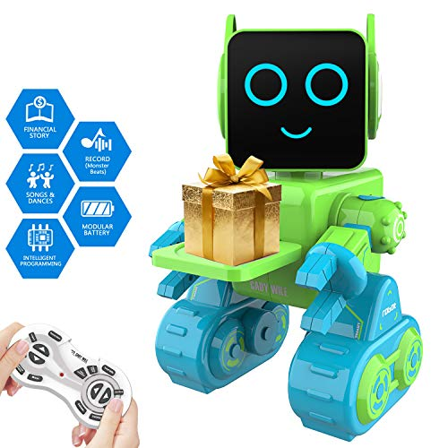 Remote Interactive Control Robots Toy,GMSUNNY Educational Stem Toys Robotics for Kids Sing,Dancing,Built-in Piggy Bank,Touch Control, Recorder,Rechargeable RC Robot Kit Gift for Boys and Girls (Green)