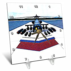 3dRose LLC Apache Helicopter Desk Clock, 6 by 6-Inch