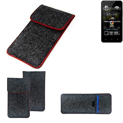 K-S-Trade Handy Schutz Hülle Für Allview P4 Pro Schutzhülle Handyhülle Filztasche Pouch Tasche Hülle Sleeve Filzhülle Dunkelgrau Roter Rand