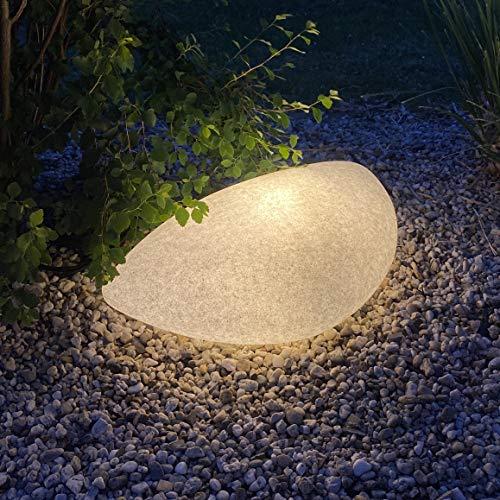 proventa® LED Gartenleuchte in Natur-Stein Optik, Oval 63x38x19 cm, inkl. 2x E27 LED Leuchtmittel mit Dämmerungssensor, warmweißes Licht (2700K), 6x Erdspieße, 2m Anschlusskabel mit IP44 Stecker