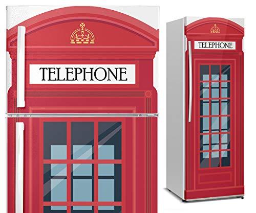 Vinilo para Nevera - Cabina Teléfonos Londres - Impreso HD - Vinilo Decorativo para Cocina - Duradero, Impermeable y Removible - Varias Medidas (185x60cm)