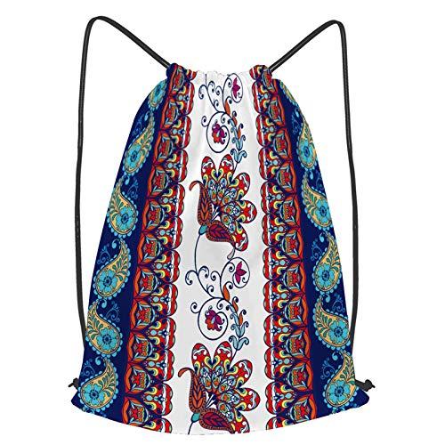Unisex Yoga Cinch Sack Drawstring Bags floral pattern flourish tiled oriental ethnic Waterproof Backpack Sports Gym Bag Casual Daypack