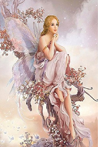 AIRDEA DIY 5D Diamond Painting Kit, Butterfly Fairy Embroidery Rhinestone Cross Stitch Arts Craft Supply for Home Wall Decor