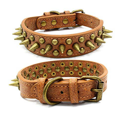 RC GearPro Pet Studded Dog Collar Products Rivet Spiked Studded Genuine Leather Dog Collar for Small Medium Large Dog (M, Brown)