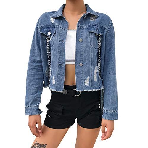 Overdose Chaqueta De Mezclilla De Las Mujeres del OtoñO del Invierno De La Vendimia Pantalones Vaqueros Flojos De Manga Larga Denim BotóN De Moda Solapas Abrigo Outwear Tops (Small, D-Azul)