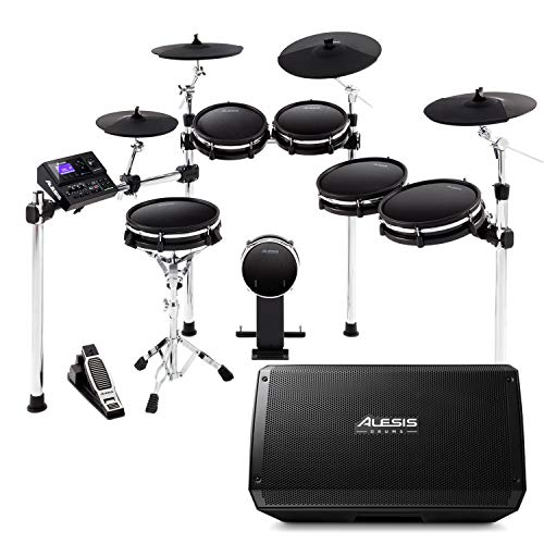 Alesis DM10 MKII Pro Kit + Strike Amp 12   10-Piece All-Mesh Electronic Drum Kit Bundled with 2000-Watt Ultra-Portable Powered Drum Speaker/Amplifier