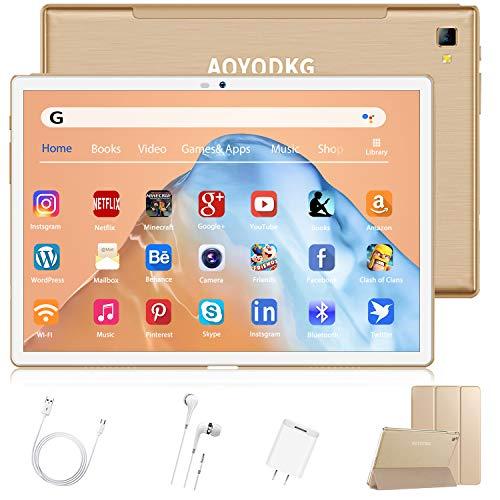 4G LTE Tablet 10.1 Pollici, Android 9.0 Pie Octa-Core 2.3GHz 4GB + 64GB/Espandibile 128GB Type-C 8000mAh Dual SIM Bluetooth GPS Supporta NETFILX (oro)