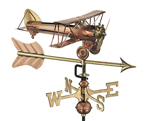 Good Directions Biplane with Arrow Weathervane, Includes Roof Mount, Pure Copper, Airplane Weathervanes, Aviation Décor