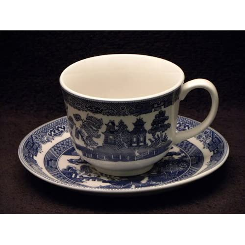 Dependable Johnson Bros England Porcelain Blue And White Willow Plate,set Of 5 Willow Pattern