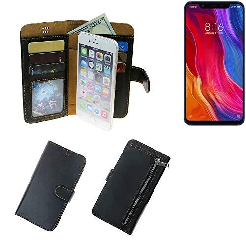 K-S-Trade® Schutzhüll Für Xiaomi Mi8 Youth Schutz Hülle Portemonnaie Case Phone Cover Slim Klapphülle Handytasche E Handyhülle Schwarz Aus Kunstleder (1 STK)