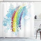 ABAKUHAUS Regenbogen Duschvorhang, Grungy Bunte Blumen, Waserdichter Stoff mit 12 Haken Set Dekorativer Farbfest Bakterie Resistet, 175x180 cm, Mehrfarbig