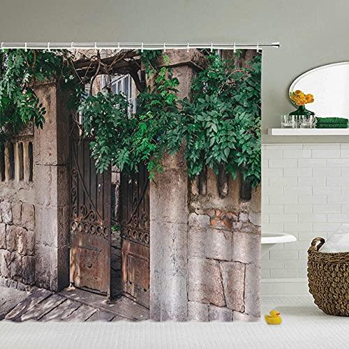 Cortinas de Ducha de Paisaje de Flores pastorales Cortina de Ducha de baño Cortina de baño de Tela 3D con Ganchos Pantalla de baño impermeable-16_150x180cm