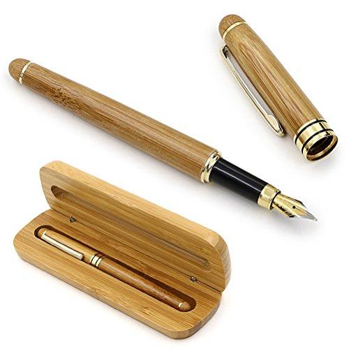 NUOLUX Füllfederhalter mit Konverter und Geschenkbox Natürlicher Bambus