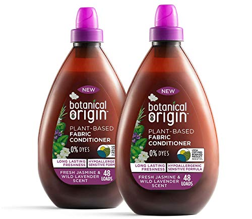 Botanical Origin Plant-Based Fabric Softener Free from Parabens and Dyes in Fresh Jasmine & Wild Lavender, 32.46 Fl Oz (Pack of 2)
