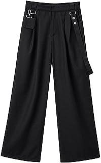 سراويل نسائية FbnzmluqCK بخصر عالٍ وبساقين واسعين أسود بلون موحد بنطلون مطوي حزام بناطيل فضفاضة للنساء (المقاس: X-Large)