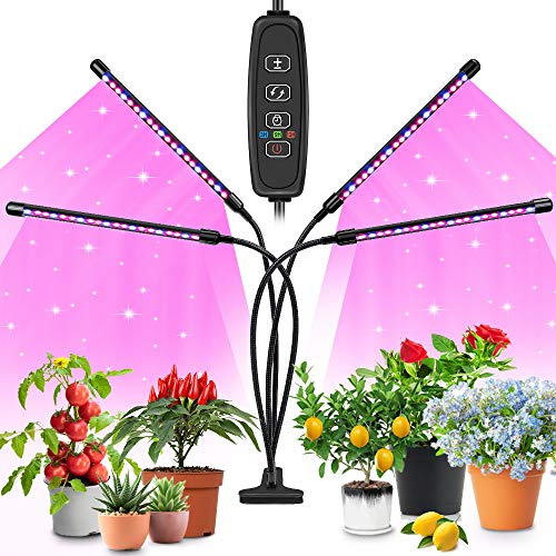 Lámpara de Planta,KOTONAMI Lámpara LED Cultivo de 4 Cabezales de Espectro Completo con 80 LED,Luz para Plantas de 10 Niveles Regulable y 360°Ajuste con Función de Temporizador,para Jardinería Bonsais