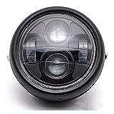 DLLL LED universel en métal Noir 16,5cm Phare Vidéoprojecteur lampe frontale Hi/Lo Faisceau pour Kawasaki Vulcan Classic Nomad Voyager Vaquero 1700