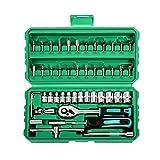Wenchuang 46 Piezas Juego de Llaves de Vaso Portátil Kit de Herramientas Mecánicas para el Auto Motocicleta para el Coche de Bricolaje (Verde#1, 24 * 15.5 * 6cm)