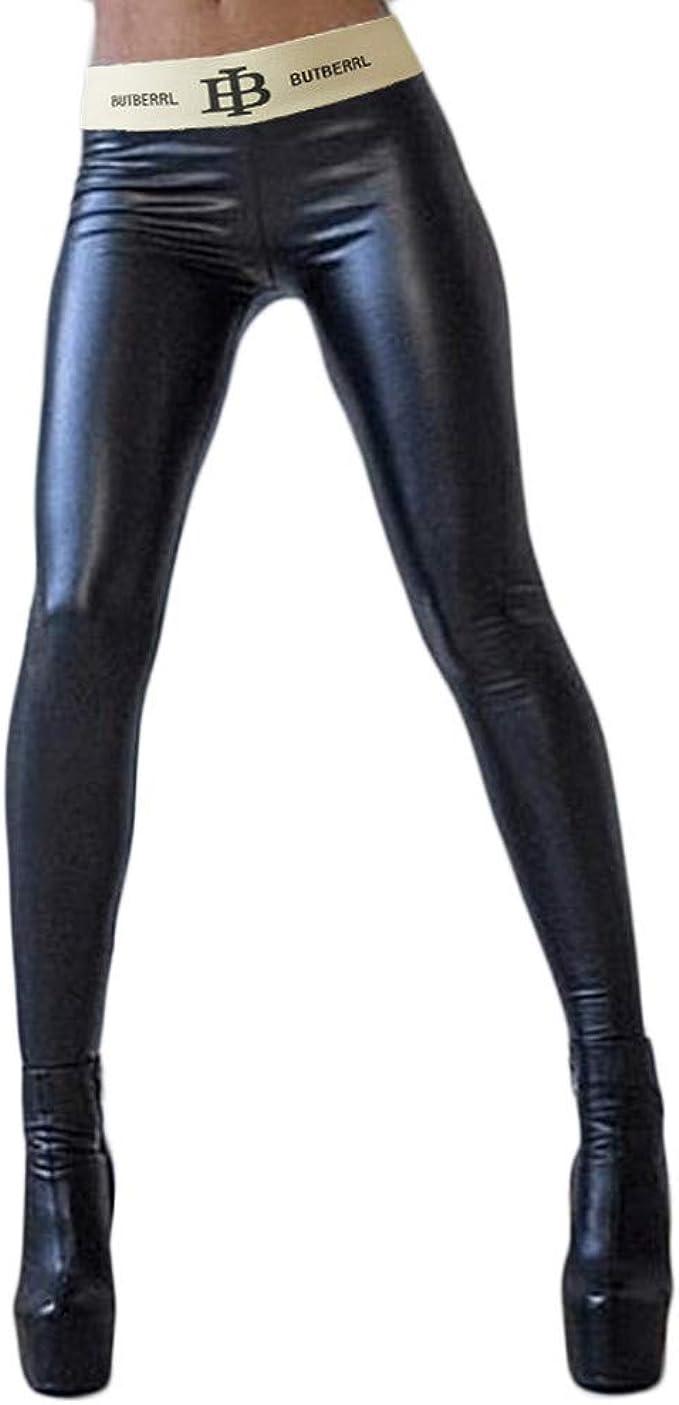 FRAUIT Women's Black Faux Leather Leggings, Skinny Trousers, Super Elastic  & Slim Hipster Pants, S   20XL
