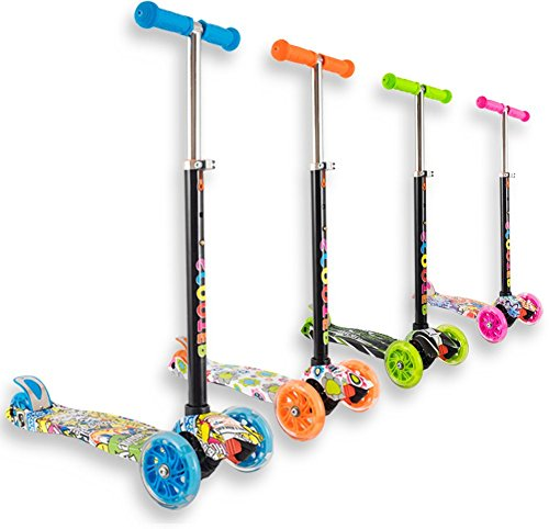 Trottinette 3 roues débutante pour enfant 4 à 10 ans idéal pour apprentissage, couleurs et motifs variés et des roues lumineuses et solides - Pour tourner : inclinez le guidon !(Bleu motif, 4-10 ans)