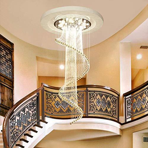 Escaleras Escalera de Caracol lámpara de araña lámpara de araña Larga Moderna Villa dúplex Minimalista Piso de la casa Sala de Estar Grande araña de Cristal Decoración para el hogar