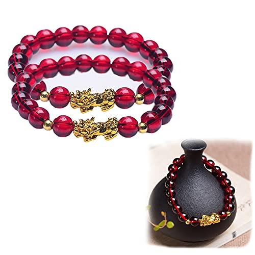 Pulsera adelgazante de granate, para aliviar el estrés, yoga y reiki, pulsera elástica para adelgazar, pulsera Pixiu, cuerda roja, pulsera de chakra curativa para hombres y mujeres (2 unidades)