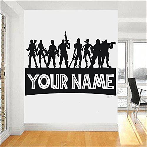 Niño personalizado nombre etiqueta de la pared sala de juegos PS4 Gamer pared calcomanía arte Pose decoración vinilo Mural A2 57x83cm