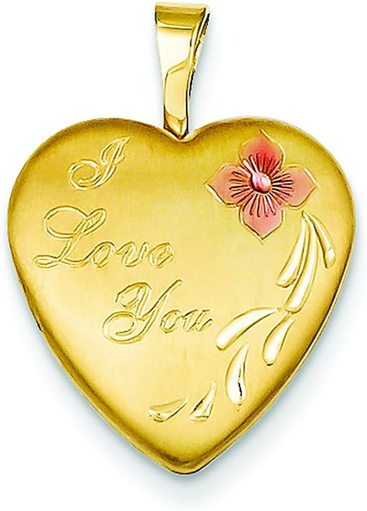 Finejewelers 1/20 Gold Filled 16mm Enameled Flower I Love You Heart Locket Necklace Chain Included