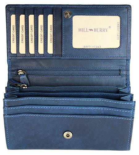 Hill Burry hochwertige Vintage Leder Damen Geldbörse Portemonnaie langes Portmonee Geldbeutel aus weichem Leder in blau - 17,5x10x3cm (B x H x T)