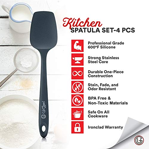 UpGood Silicone Spatula Set 600°F - 4 Versatile Tools Created for Cooking, Baking and Mixing | One Piece Design, Non-Stick