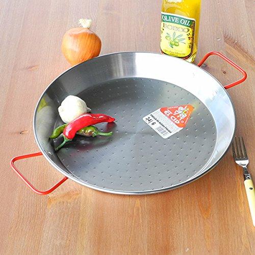 ELCIDスペイン製パエリア鍋赤いハンドルプロ用パエリアパンレシピ付きパエージャ34cm6人用