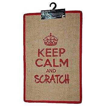 Wouapy - Tapis Griffoir pour Chat - Tapis Rectangle en Sisal - Tapis a Gratter - Design & Tendance - Inscription « Keep Calm and Scratch » - Pratique & Antidérapant - Rouge
