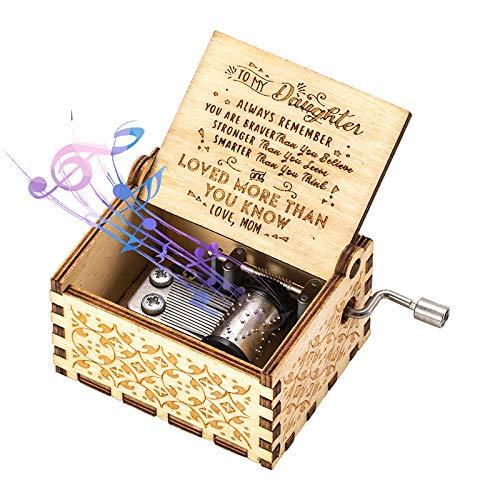 You Are My Sunshine Wood Music Boxes,Laser Engraved Vintage Wooden Sunshine Musical Box Gifts for Birthday/Christmas (Hand-cranked, no Electricity/Battery)(MOM to Daughter)