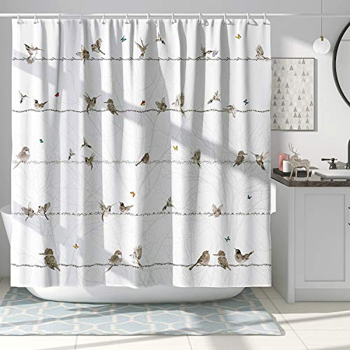DESIHOM Bird Shower Curtain Cute Animal Shower Curtain Spring Shower Curtain Tree Background Butterfly Shower Curtain Polyester Waterproof Shower Curtain 72x72 Inch